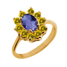 1.15 Ct Oval Checkerboard Blue Iolite Yellow Sapphire 18K Yellow Gold Ring