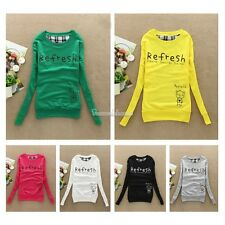 Women Long Sleeve Sweatshirt Crew Neck Pullover Blouse Shirt Sweater Outwear Top