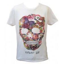 Mens Skull Flower Punk Retro Rock Gothic Vintage White Manga Never Die T-shirt