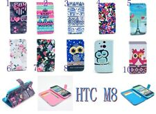For HTC ONE M8 Rose Elephant Calm OWL Clip PU Leather Case Flip Stand Wallet