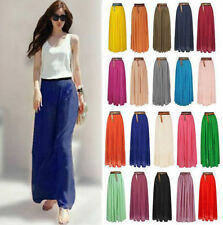 Fashion Women Double Layer Chiffon Pleated Long Maxi Dress Elastic Waist Skirt