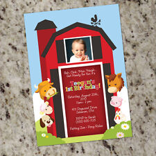 Barnyard Party - Farm Animals Kids Birthday Party Invitations