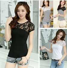 New Fashion Womens Lady Lace Slim Fit Striped Solid Round Top T-Shirt Blouse Tee