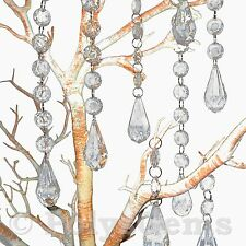 5 X ACRYLIC CRYSTAL TEARDROP QUALITY GARLANDS - WEDDING - CHRISTMAS DECORATIONS