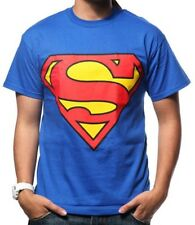 DC Comics Superman Classic Logo Shield Licensed Adult T-Shirt - Blue