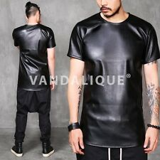 XQUARE 23 Black Leather Slim T Shirt S Kanye A$AP FABRIXQUARE t937 #3