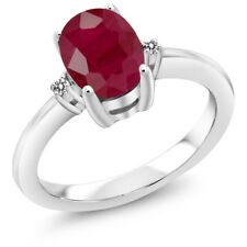 1.92 Ct Oval Red Ruby White Diamond 925 Sterling Silver 3 Stone Engagement Ring