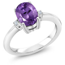 1.13 Ct Oval Purple Amethyst 925 Sterling Silver 3 Stone Engagement Ring