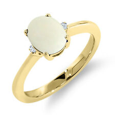1.08 Ct Oval Cabouchon White Opal 18K Yellow Gold Ring