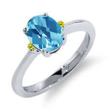 1.33 Ct Oval Checkerboard Swiss Blue Topaz Canary Diamond 14K White Gold Ring
