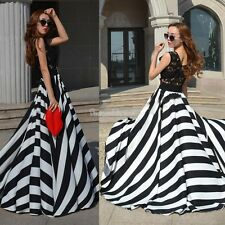 Ladies Long Cocktail Evening Party Chiffon Maxi Vintage Black And White Dress