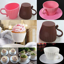 4pcs Silicone Cupcake Mold Cake Muffin Baking Mould Chocolate Tea Cup Saucers