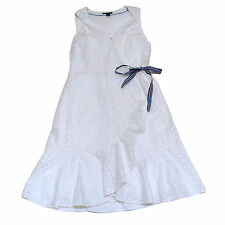 Tommy Hilfiger Sundress Snap Closure Sleeveless Floral Embroidery White New V375