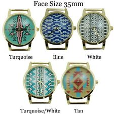 New Aztec Tribal Print Round Solid Bar Beading Watch Face 35mm