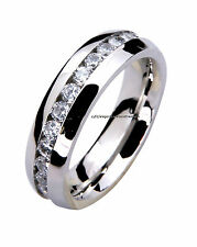 316L Stainless Steel Mens Ladies Comfort Fit 6mm Cz Eternity Wedding Band Ring