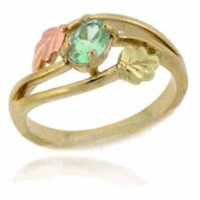 Gold Tone over Silver Two Tone Peridot Leaf Ring