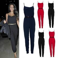 NEW FASHION STYLE WOMEN'S LADIES CELEBRITY BELTED TROUSER JUMPSUIT STRAPPY 8-16