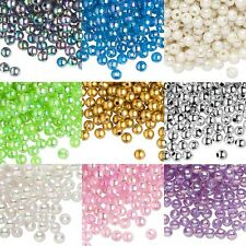 100 Plastic Acrylic 6mm Round Smooth Loose Beads with 2mm Hole