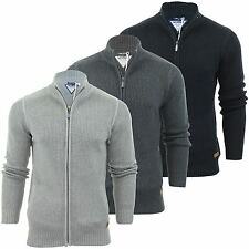 Mens  jumper Zip Up Cardigan by Threadbare 'Visage' Cotton Knit Sweater