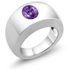 1.66 Ct Oval Purple VS Amethyst 925 Sterling Silver Men's Solitaire Ring