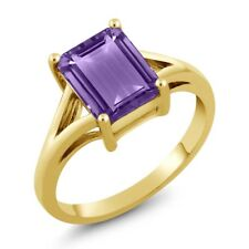 2.25 Ct Octagon Purple Amethyst 925 Yellow Gold Plated Silver Ring