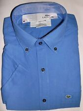 MENS LACOSTE S/S CLASSIC FIT BUTTON DOWN OXFORD WOVEN SHIRT, DARK BLUE,PICK SIZE