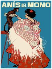 6053.Anis del mono.Woman with monkey pouring drink.POSTER.Home Office art