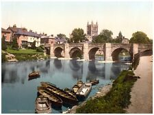 5915.Hereford bridge.houses next to river.sleepy town.POSTER.Home Office art