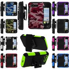 LG Optimus Zone 2 Fuel L34C VS415PP Rugged Holster Belt Clip Hybrid Case Cover