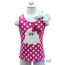 Halloween Girls Ghost Hot Pink White Polka Dots Party Tank Top Costume 3M-7Y