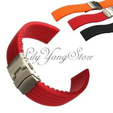 New Men Silicone Rubber Watch Strap Band Waterproof Replacement Deployment Clasp