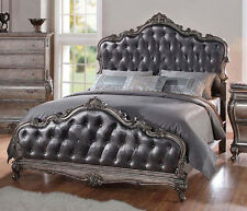 NEW ARABELLA TRADITIONAL ANTIQUED PLATINUM FINISH WOOD QUEEN or KING BED