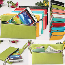 Woman Zipper Leather Handbag Wallet Phone Case Cover For iPhone5s Galaxy S5/4/3