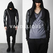 Asymmetric Zip Cowl Hooded Leather Mix Jersey Jacket Kanye FABRIXQUARE j55 #5