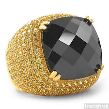 10 Carat Black Stone Gold Canary  CZ Hip Hop Ring for Men