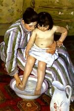 THE BATH MOTHER WASHING DAUGHTER 1891 AMERICAN PAINTING BY MARY CASSATT REPRO