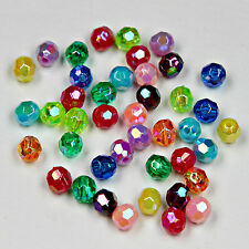 200 x Acrylic Faceted Round Beads / Charms Jewellery Marking Finding 6mm