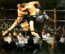 STAG AT SHARKEY'S BOXING FIGHTERS MUSCLES BLOWS PAINTING BY GEORGE BELLOWS REPRO