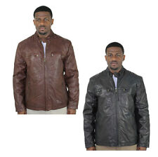 Andrew Marc Vine Men's Leather Zip Up Motorcycle Jacket Coat