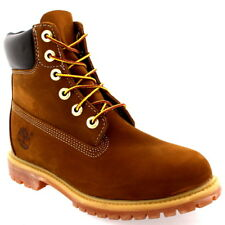 """Womens Timberland 6"""" Premium Lace Up Rust Leather Original Ankle Boots UK 3-9"""