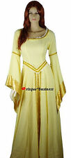 Medieval Renaissance Gold Guinevere Maid Fancy Dress Gown Costume 10 12 14 16 18
