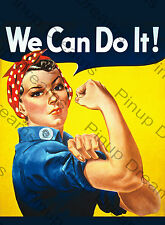 "Vintage Wartime Poster ""Riveting Rosie"" We Can Do it, Retro re-print A4, A3."