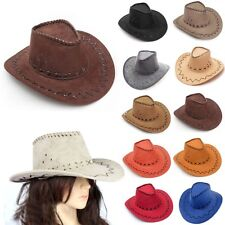 New Fasion Mens Cowboy Faux Suede Leather Hat Wide Brim Western Outback Hats