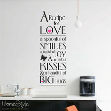 RECIPE FOR LOVE KITCHEN WALL ART STICKERS DECALS QUOTE FREE UK POST