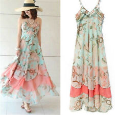 Women Summer Sexy Boho Chiffon Floral Beach Long Maxi Dress Evening Party Dress