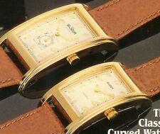 New Old Stock LeJour 18kt GOLD Plated CURVED Swiss Quartz Watch-Unisex & Ladies
