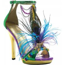 Mardigras Gold Green & Purple Open Toe High Heel Pump Mardi Gras Costume Shoes