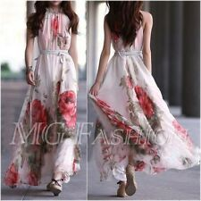 Summer Sexy Women's Maxi Sleeveless Floral Casual Beach Party Long Chiffon Dress