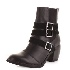 Womens Hush Puppies Mimi Rustique Black Leather Waterproof Ankle Boots Size