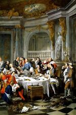 THE OYSTER LUNCHEON WEALTH 1834 FRENCH PAINTING BY JEAN FRANCOIS DE TROY REPRO
